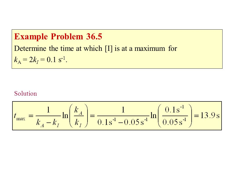 Example problem 36.5 Example Problem 36.5. Determine the time at which [I] is at a maximum for. kA = 2kI = 0.1 s-1.